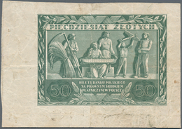 Poland / Polen: Bank Polski 50 Zlotych 1936 Reverse Only, P.78b, Previously Mounted With Traces Of S - Polen