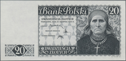 Poland / Polen: Bank Polski, Intaglio Printed Uniface Front Proof For The Unissued 20 Zlotych 1939, - Polen