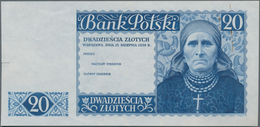 Poland / Polen: Bank Polski Proof For The Unissued 20 Zlotych 1939 Without Signatures, P.83p, Unfold - Polen