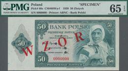 "Poland / Polen: Bank Polski 50 Zlotych 1939 Unissued Series SPECIMEN, P.88s, With Red Overprint ""WZO - Polen"
