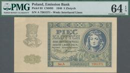 Poland / Polen: Emission Bank 5 Zlotych 1940, P.93, Serial Number Ser.A 7361371, PMG Graded 64 Choic - Polen