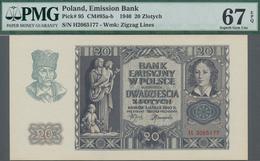 Poland / Polen: Emission Bank 20 Zlotych 1940, P.95, Serial Number H2065177, PMG Graded 67 Superb Ge - Polen