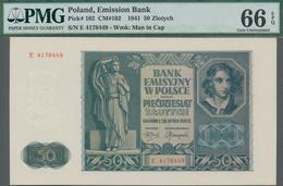 Poland / Polen: Emission Bank 50 Zlotych 1941, P.102, Serial Number E4178449, PMG Graded 66 Gem Unci - Polen