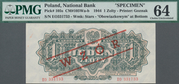 """Poland / Polen: 1 Zloty 1944 SPECIMEN, Last Word In Text At Lower Margin Spelled As """"OBOWIAZKOWYM"""" ( - Polen"""