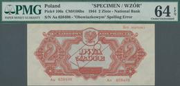 """Poland / Polen: 2 Zlote 1944 SPECIMEN, Last Word In Text At Lower Margin Spelled As """"OBOWIAZKOWYM"""" ( - Polen"""