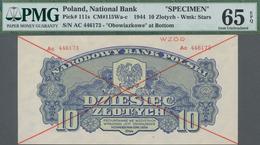 "Poland / Polen: 10 Zlotych 1944 SPECIMEN, Last Word In Text Spelled As ""OBOWIAZKOWE"""" (correct; Prin - Polen"