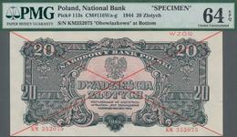 "Poland / Polen: 20 Zlotych 1944 SPECIMEN, Last Word In Text Spelled As ""OBOWIAZKOWE"""" (correct; Prin - Polen"