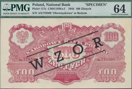 """Poland / Polen: 100 Zlotych 1944 SPECIMEN, Last Word In Text Spelled As """"OBOWIAZKOWE"""""""" (correct; Pri - Polen"""