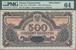 "Poland / Polen: 500 Zlotych 1944 SPECIMEN, Last Word In Text At Lower Margin Spelled As ""OBOWIAZKOWY - Polen"