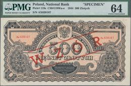 """Poland / Polen: 500 Zlotych 1944 SPECIMEN, Last Word In Text Spelled As """"OBOWIAZKOWE"""""""" (correct; Pri - Polen"""
