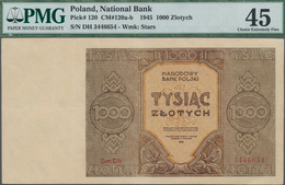 Poland / Polen: 1000 Zlotych 1945, P.120 Replacement Series Ser.Dh 3446654, Tiny Pinhole And Minor R - Polen