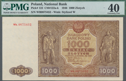 Poland / Polen: 1000 Zlotych 1946, P.122 Replacement Series Wb.0675452, PMG Graded 40 Extremely Fine - Polen