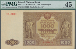 Poland / Polen: 1000 Zlotych 1946, P.122, Serial Number G9561626, PMG Graded 45 Choice Extremely Fin - Polen