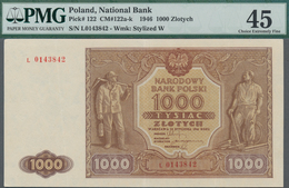 Poland / Polen: 1000 Zlotych 1946, P.122, Serial Number L 0143842, PMG Graded 45 Choice Extremely Fi - Polen