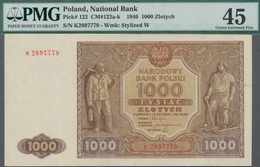 Poland / Polen: 1000 Zlotych 1946, P.122, Serial Number K2897779, PMG Graded 45 Choice Extremely Fin - Polen
