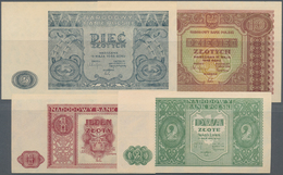 Poland / Polen: Set With 4 Banknotes With 1, 2, 5 And 10 Zlotych 1946, P.124-126, All In AUNC/UNC Co - Polen