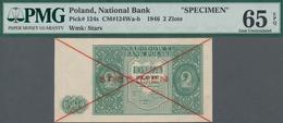 "Poland / Polen: 2 Zlote 1946 SPECIMEN, P.124s, Cross Cancellation And Red Overprint ""Specimen"", PMG - Polen"