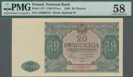 Poland / Polen: 20 Zlotych 1946, P.127, Serial Number A2809212, PMG Graded 58 Choice About Unc. - Polen