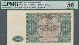 Poland / Polen: 20 Zlotych 1946, P.127, Serial Number A1047971, PMG Graded 58 Choice About Unc. - Polen