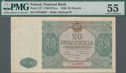 Poland / Polen: 20 Zlotych 1946, P.127, Serial Number E8440021, PMG Graded 55 About Uncirculated. - Polen