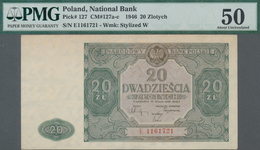Poland / Polen: 20 Zlotych 1946, P.127, Serial Number E1161721, PMG Graded 50 About Uncirculated. - Polen