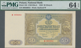 Poland / Polen: 50 Zlotych 1946, P.128, Serial Number B9830952, PMG Graded 64 Choice Uncirculated EP - Polen