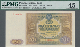 Poland / Polen: 50 Zlotych 1946, P.128, Serial Number H0838590, PMG Graded 45 Choice Extremely Fine. - Polen