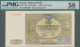 Poland / Polen: 50 Zlotych 1946, P.128, Serial Number A2585989, PMG Graded 58 Choice About Unc. - Polen