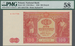 Poland / Polen: 100 Zlotych 1946, P.129, Serial Number A0417728, PMG Graded 58 Choice About Unc. - Polen