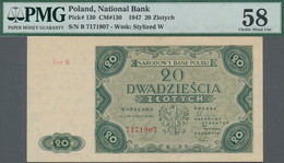 Poland / Polen: 20 Zlotych 1947, P.130, Serial Number Ser.B 7171907, PMG Graded 58 Choice About Unc. - Polen