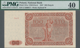 Poland / Polen: 100 Zlotych 1947, P.131a, Serial Number Ser.G 5260817, PMG Graded 40 Extremely Fine. - Polen