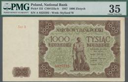 Poland / Polen: 1000 Zlotych 1947, P.133, Serial Number Ser.A 8325592, PMG Graded 35 Choice Very Fin - Polen