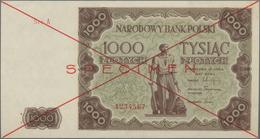 Poland / Polen: Narodowy Bank Polski 1000 Zlotych 1947 SPECIMEN, P.133s With Cross Cancellation, Red - Polen