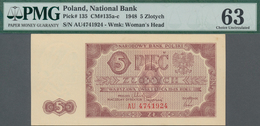 Poland / Polen: 5 Zlotych 1948, P.135, Serial Number AU 4741924, PMG Graded 63 Choice Uncirculated. - Polen