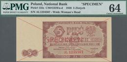 "Poland / Polen: 5 Zlotych 1948 SPECIMEN, P.135s With Cross Cancellation, Red Overprint ""Specimen"" An - Polen"
