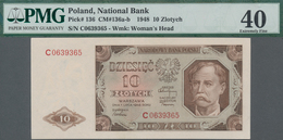 Poland / Polen: 10 Zlotych 1948, P.136, Serial Number C0639365, PMG Graded 40 Extremely Fine, Optica - Polen
