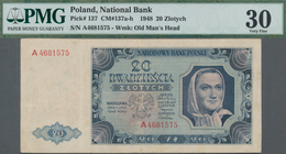Poland / Polen: 20 Zlotych 1948, P.137 With Single Letter Serial Number A4681575, PMG Graded 30 Very - Polen