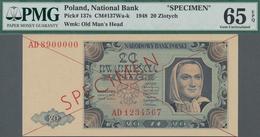 "Poland / Polen: 20 Zlotych 1948 SPECIMEN, P.137s With Cross Cancellation, Red Overprint ""Specimen"" A - Polen"