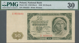 Poland / Polen: 50 Zlotych 1948, P.138 Replacement Note Serial Z855223, PMG Graded 30 Very Fine, Opt - Polen