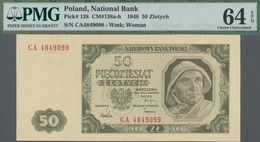 Poland / Polen: 50 Zlotych 1948, P.138, Double Letter Serial Number CA4849099, PMG Graded 64 Choice - Polen