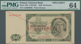 "Poland / Polen: 50 Zlotych 1948 SPECIMEN, P.138s With Cross Cancellation, Red Overprint ""Specimen"" A - Polen"