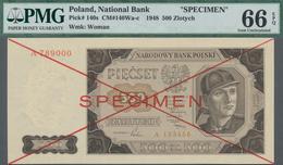 Poland / Polen: 500 Zlotych 1948 SPECIMEN, P.140s, With Cross Cancellation, Single Letter Serial Num - Polen