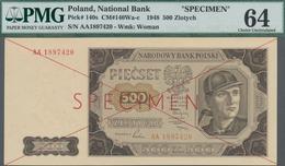 "Poland / Polen: 500 Zlotych 1948 SPECIMEN, P.140s With Cross Cancellation, Red Overprint ""Specimen"" - Polen"