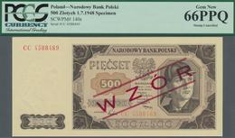 "Poland / Polen: 500 Zlotych 1948 SPECIMEN, P.140s With Red Overprint ""Wzor"" And Regular Serial Numbe - Polen"