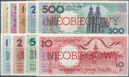 """Poland / Polen: Set With 9 Banknotes Series 1990 """"NIEOBIEGOWY"""" With 1, 2, 5, 10, 20, 50, 100, 200 An - Polen"""