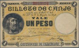 Puerto Rico: Billete De Canje - Exchange Note 1 Peso 1895 Without Counterfoil, P.7c, Small Diagonal - Puerto Rico