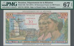 Réunion: Institut D'Émission Des Départements D'Outre-Mer 10 Nouveaux Francs Overprint On 500 Francs - Réunion