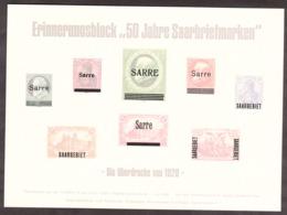 """SARRE - Bloc Souvenir """"Die Uberdrucke Von 1920"""" - Surcharges De 1920 - 50 Ans Des Tp De Sarre - Erinophilie - Blocs-feuillets"""