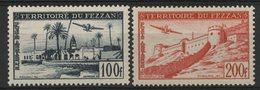 FEZZAN POSTE AERIENNE Cote 27.6 € N° 6 + 7. Neufs ** MNH. TB - Fezzan (1943-1951)