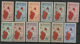 MADAGASCAR POSTE AERIENNE Cote 44 € N° 2 à 5A + 8 à 14. Ensemble De 12 Valeurs Neuves ** MNH. TB - Posta Aerea